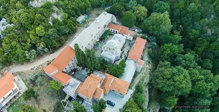 Evangelistrias Monastery in Skiathos Island, Greece by Skyframe.gr